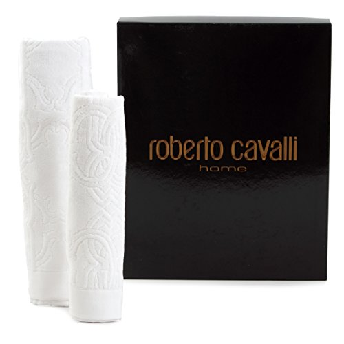Paar Handtücher Roberto Cavalli Logo White