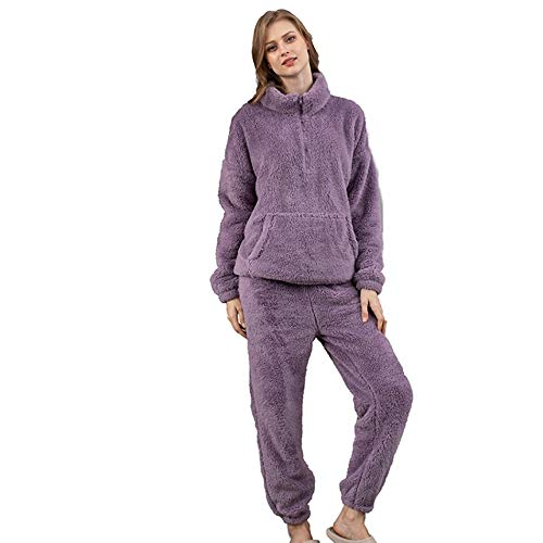 CWENROU Pijama De Franela para Hombre,Moda Otoño E Invierno Unisex Pijamas Gruesos Más Terciopelo Hogar Casual Hogar Llevar Pijama De 2 Piezas Elegante Púrpura Partido Fiesta Pantalones Simples, M