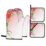 F-shop Celebration Party Balloons with Bunch of Ornaments Ribbon Butterfly Flowers Birthday Image Multicolor Oven Gloves and Pot Holders Set Personalized Barbecue Cooking Mitts