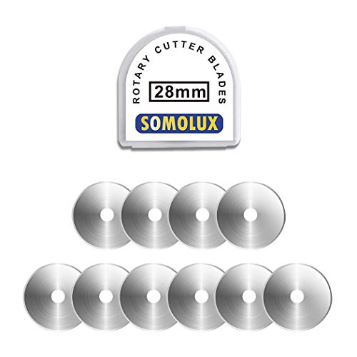 SOMOLUX 28mm Rotary Blades Compatible with Fiskars 28mm Rotary Cutter Perfect for Sewing Arts Crafts, Sharp, and Durable 10 Pack (Round Hole)