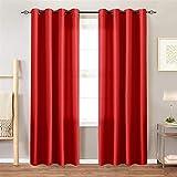 PENVEAT Satin Curtains Room Darkening Günstige Vorhänge für Wohnzimmer Schlafzimmer 1 Panel, rot, 140x260cm, Tülle Top