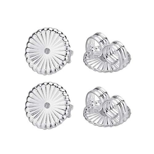 2 pares de pendientes de plata de ley con cierre de recambio para pendientes de plata, L