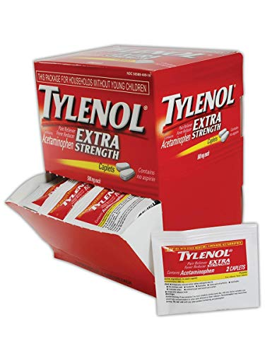 Tylenol MP497-33 Acetaminophen Pain Relief Tablet, 500 Milligrams, Standard, Red/White, 50 Doses (100 Pills) (1 Pack)