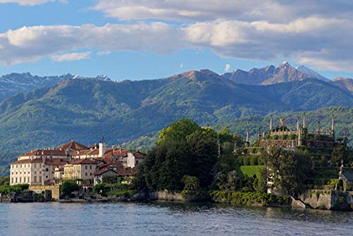 ING Wall Art Print on Canvas(32x21 inches)- Panoramic Nature Mountain Panorama Lake Maggiore