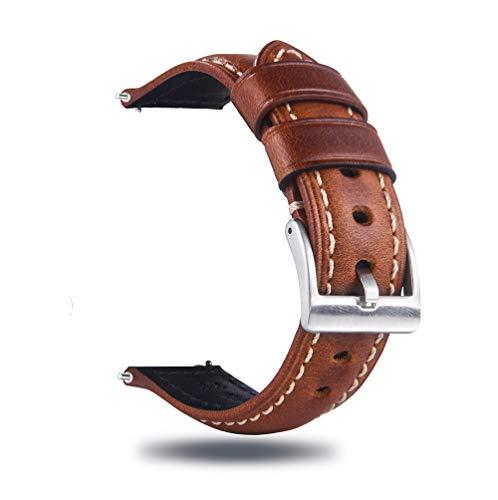 Berfine Quick Release Rindsleder Uhrenarmband 20mm, Vintage Retro Pull-Up Leder Uhrenband, Ersatzarmband für Damen Herren Uhr und Smartwatch, Braun