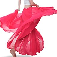 Package Include: 1 skirt Skirt Waist:about 26.77 inch to 47.24 inch(68cm-120cm) Skirt Length:about 35.43 inch to 36.22 inch (90cm-92cm) The fabric is light chiffon. Perfect for belly dance, Latin dance, performance, stage, carnival show, cocktail par...