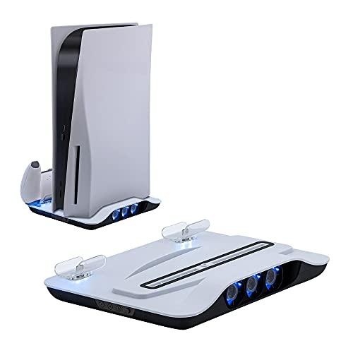 Mcbazel - Estación de carga con ventilador de refrigeración y controlador dual para consola PS5, estación de refrigeración y base de carga con puertos USB adicionales para...