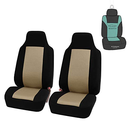 FH Group FB102102 Classic Cloth Seat Covers (Beige) Front Set with Gift – Universal Fit for Cars Trucks & SUVs