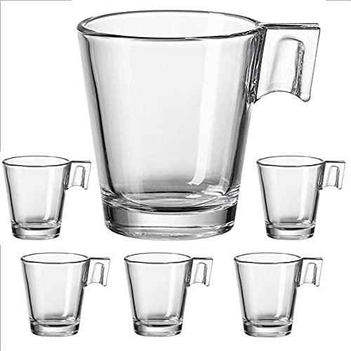 Pack de 6 Tazas de cafe IKEA GOTTFINNANDE 6 cm cristal transparente 8 cl