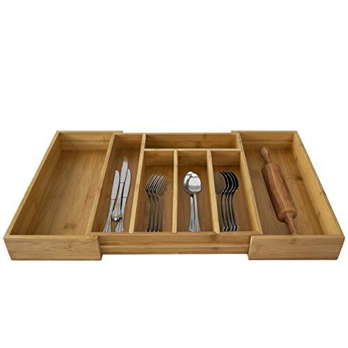 Made Terra - Vassoio espandibile in legno di bambù per posate da cucina, cassetto portaoggetti per utensili e posate, da 5 a 7 scomparti regolabili da 33 x 30 cm