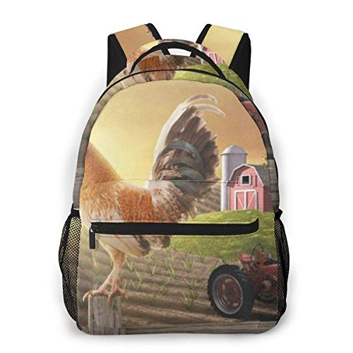 Lawenp Cock Rooster On Fence Casual Backpack For School Outdoor Travel Big Student Fashion Bag