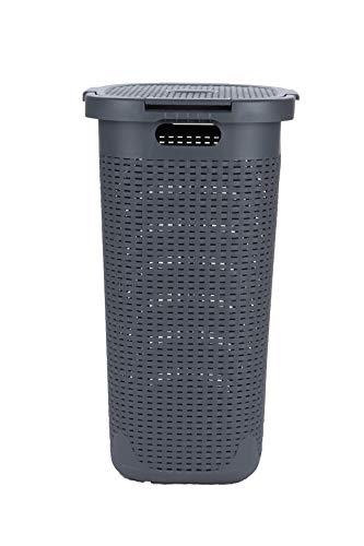 Mind Reader Basket Laundry Hamper with Cutout Handles Washing Bin Dirty Clothes Storage Bathroom Bedroom Closet 50 Liter Gray