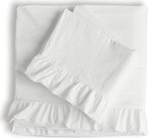 Piu Belle Shabby Chic Ruffled 4pc Sheet Set Queen or King 100% Cotton Cottage French Country Style Frilled Sheets White (White, Queen)