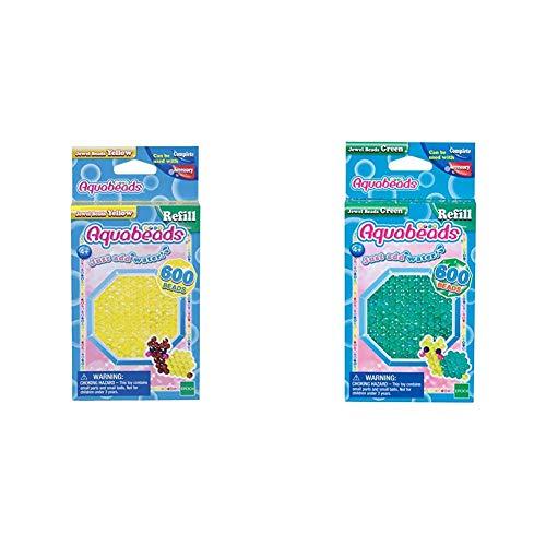 Aquabeads 32688 Glitzerperlen Bastelperlen nachfüllen gelb & 32698 Glitzerperlen Bastelperlen nachfüllen grün