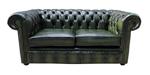 Designer Sofas4u Chesterfield - Sofá clásico de 2 plazas, de Piel auténtica, con Botones, Color Verde Envejecido