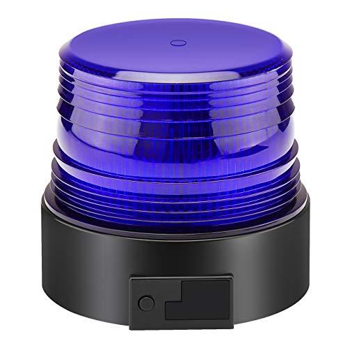 Luz LED estroboscópica, faro intermitente de advertencia de emergencia Azul magnético para camión o vehículo con enchufe para mechero de coche de 12-24V