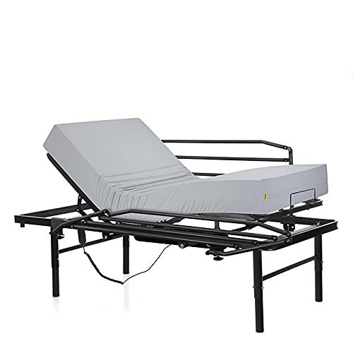Ferlex - Cama articulada eléctrica geriátrica hospitalaria con Patas Regulables | Colchón Sanitario viscoelástico | Barandillas abatibles (90x190)