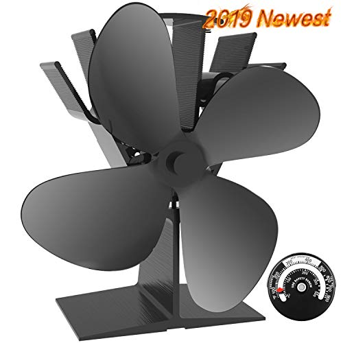 X-cosrack 4 Blade Wood Stove Fan Heat Powered Fireplace Fan with Magnetic Thermometer for Wood Log Burner Slient Eco-Frienly Aluminium Black Large