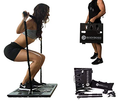 BodyBoss Home Gym 2.0 - Full Portable Gym Home Workout Package + 1 Set of Resistance Bands - Collapsible Resistance Bar, Handles - Full Body Workouts for Home, Travel or Outside - Black