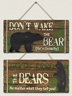 Assorted Wood Bear Table/Wall Signs - Set of 2