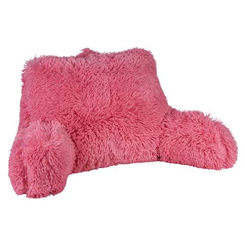 Klear Vu Shaggy Bed Rest Back Support Pillow, One Size, Pink