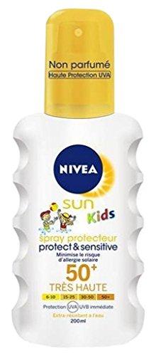 Nivea Sun Kids Spray Protect Et Sensitive FPS50 200ml (lot de 2)