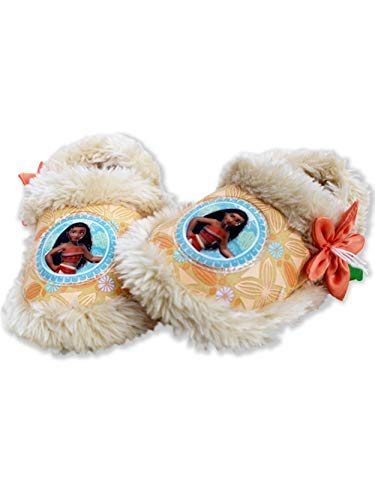 Disney Moana Toddler Girl's Plush A-Line Slippers with Faux Fur (11-12 M US Little Kid, Coral)