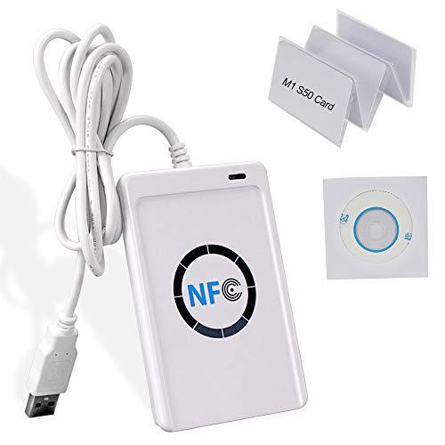 Hdliang 13,56 MHz RFID Kopierer Duplizierer NFC Smart Card Reader Writer USB Programmierer + 5 stücke S50 MF Zugangskontrolle Schlüsselkarten + Free SDK Software ACR122U