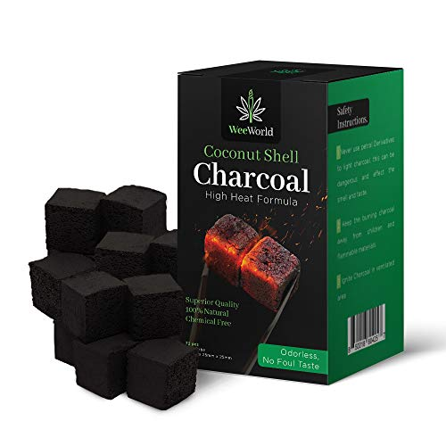 WeeWorld Coconut Shell Charcoal Cubes - Hookah Coals - Natural Coconut Shisha Briquettes Lights Quickly Longer Lasting Clean Burn Odor and Spark Free No Foul Aftertaste for Smooth Smoking Experience