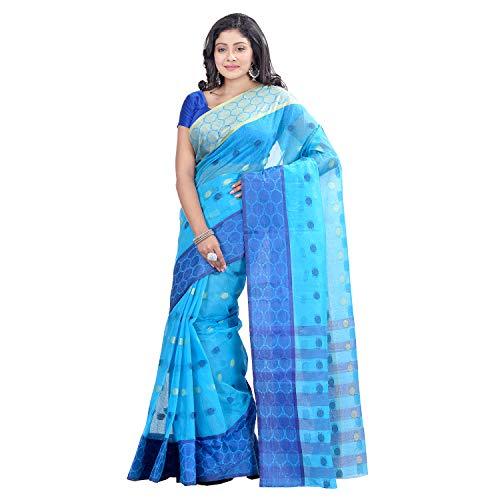 dB DESH BIDESH Women's Tant Cotton Saree Without Blouse Piece (DBSARE030319WOBGJ1_Blue,golden)