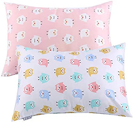 Kids Toddler Pillowcases UOMNY 2 Pack 100% Cotton Pillowslip Case Fits Pillows sizesd 13 x 18 or 12x 16 for Kids Bedding Pillow Cover Baby Pillow Cases Pink/White Owl