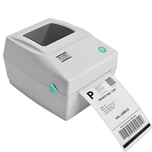 MFLABEL Label Printer 4x6 Thermal Printer, Commercial Direct Thermal High Speed USB Port Label Maker, Etsy, Ebay, Amazon Barcode Express Label Printing Machine, White