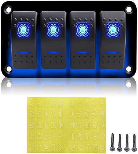 CT-CARID - Interruttore a 4 pulsanti, 12 V, per auto, barca, camper, camper (Blue)