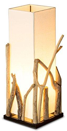 *levandeo Lampe Tischlampe/Tischleuchte aus recyceltem Holz – Holzlampe Treibholz 20x20cm 50cm hoch – Jede Lampe EIN Unikat*