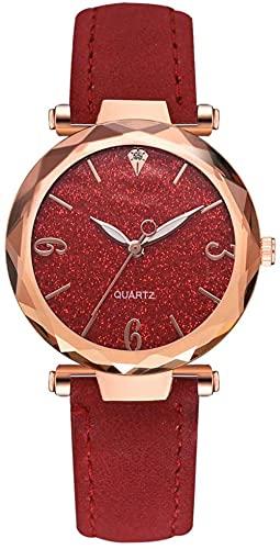 JZDH Mano Reloj Relojes de Mujer Relojes de Pulsera Elegantes Ladies PU Correa de Cuero Reloj de Cuarzo Dial Redondo Reloj de aleación Decoración Regalo Reloj Rojo Relojes Decorativos Casuales