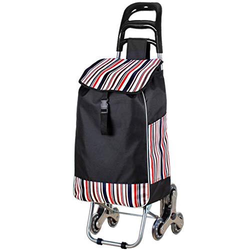 LXCS Portable Domestica Trolley, Pieghevole supermercato Carrello, Fare la Spesa rimorchio, Arrampicata Trolley Carrier (Color : Striped)