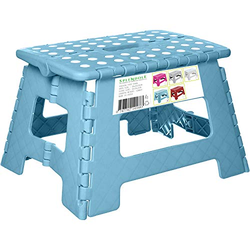 Splendole Small Folding Step Stool 22cm Anti Slip Top Compact Folding Plastic Stool Easy to Store, Perfect for Kitchen Step or Bathroom Step (Turquoise)