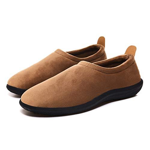 Zapatillas de Invierno Mujer Hombre Pantuflas de algodón con Memoria Zapatillas de Estar Al Aire Libre Forro cálido Pantuflas Mocasín Estilo,Marrón,39 EU