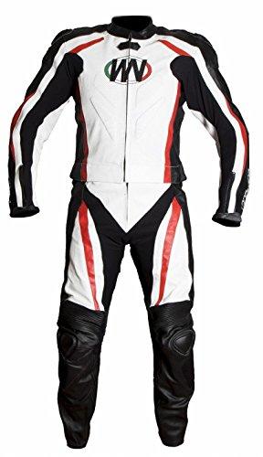 WinNet tuta 2 pezzi giacca e pantalone divisibile con gobba racing da moto in pelle