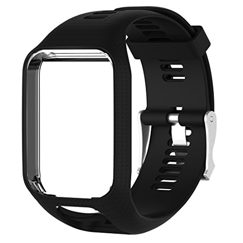 MOTONG Silicone Replacement Band for Tomtom Adventurer,Tomtom Golfer 2,Tomtom Runner 2,Tomtom Runner 3,Tomtom Spark,Tomtom Spark 3 (Silicone Black)