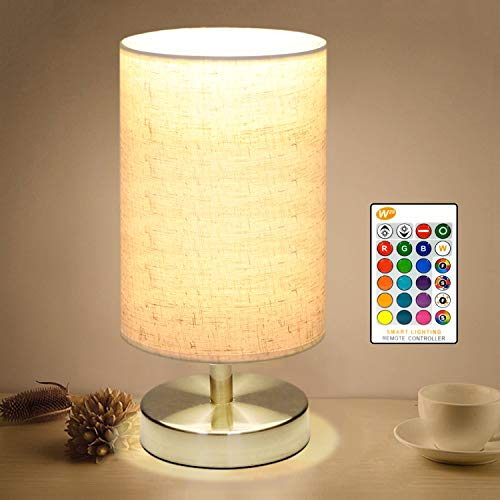 COOLWEST Bedside Table Lamp, LED Modern Nightstand Desk Lamp, Remote Dimmable RGB Color Changing Modes for Bedroom, Living Room, Childrens Room, Office(E27 RGB Bulb Included)