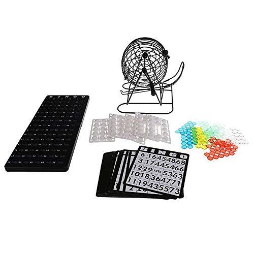 Juego de Bingo de Jaula | Jaula de Metal de 8 Pulgadas con Placa Maestra de plástico | 75 Bolas Multicolores, cartones de Bingo y fichas | Para Grupos Grandes