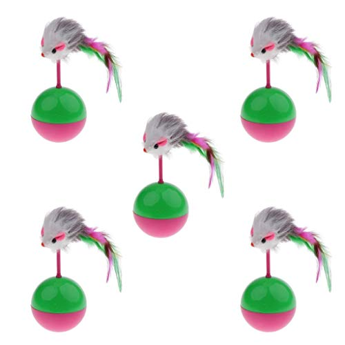 Willlly 5 bolas de pie para gatos con diseño de gato y plumas. Accesorios de moda para mascotas (color: color, talla única)