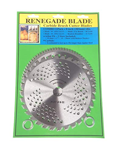"""2pk-- 8""""--32t/80t - Combo 2 Blade Pack -- (1) Brush & Brambles & (1) Multi-Use Brush Specialty -- RENEGADE BLADE -- GS1 Barcoded Shelf Hanging Blister Pack-- Carbide Brush Cutter Blades, 203mm Dia."""