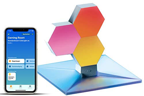 Cololight PLUS - RGB LED-Panels mit App-Steuerung, kompatibel mit Apple Homekit, Amazon Alexa, Google Home (STARTER (1x Controller, 3x Modul, 1x Standuß))