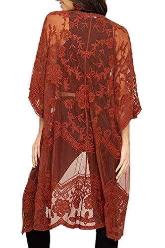 AiJump Floral Encaje Vestido de Playa Kaftan Kimonos Pareos Bohemia Cover Ups para Mujer