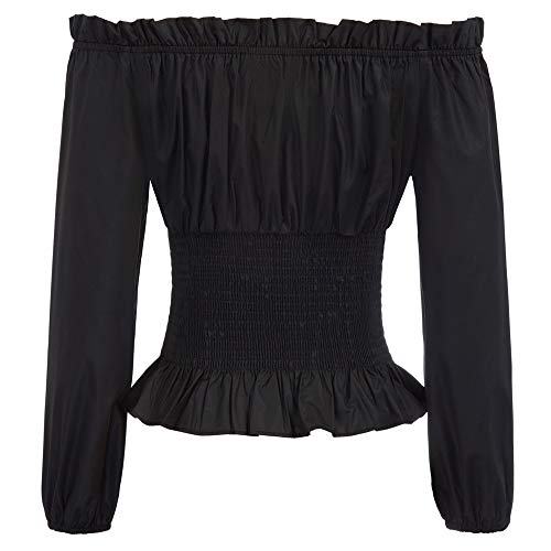 SCARLET DARKNESS Women Tops Off-The-Shoulder Cotton Corset Lacing Neckline with Ruffle Tops S Black steampunk buy now online