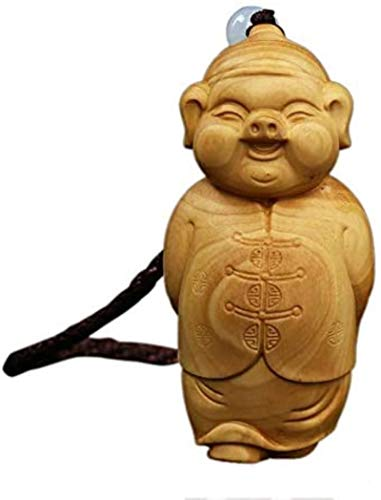 HYBUKDP Estatuas Figuras Zen Adornos Boxwood Decoration Talla Crafts Fu Pig Collectible Sculpture Statue Gift Zen Adornos Escultura de la Mascota (Color : Default)
