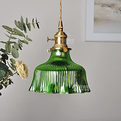 Lámpara colgante de la antigua araña de la araña de la era de la era de China Lámpara colgante del techo verde con el revestimiento de rotación retro del revestimiento retro del revestimiento de oro y