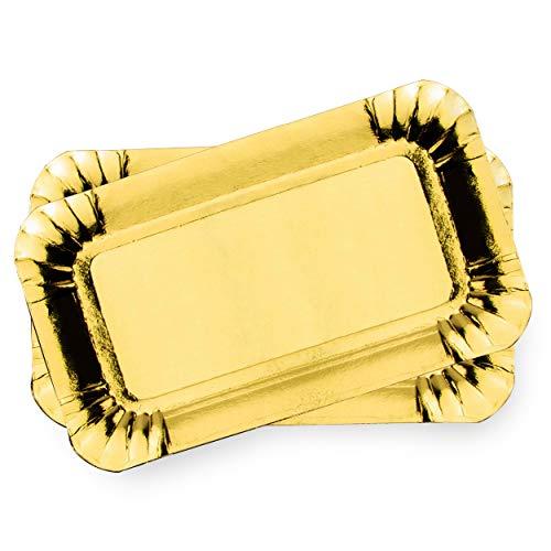 Lotto di 50 vassoi in cartone dorato - Vassoi di presentazione per dolci o buffet freddo (10 x 16 cm)